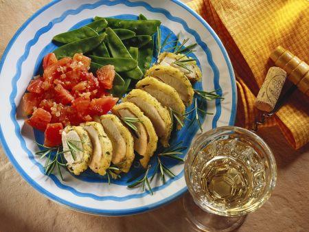 Hähnchen mit Kartoffelpanade und Gemüse
