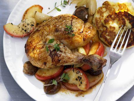 Hühnchen mit Esskastanien und Äpfeln