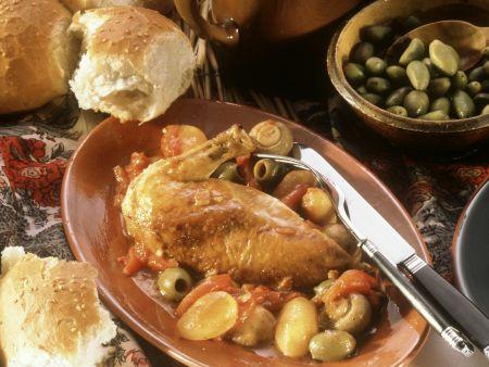 Hähnchen mit Oliven auf korsische Art