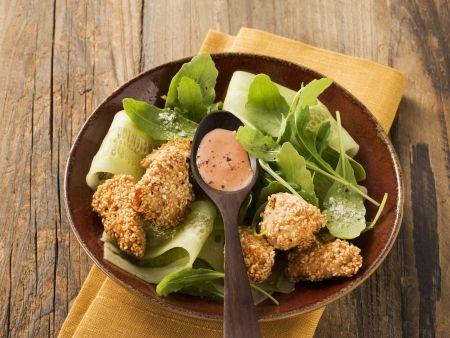 Hähnchen mit Sesampanade und Rucolasalat