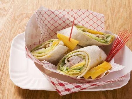 Hähnchen-Wrap mit Curry und Mango