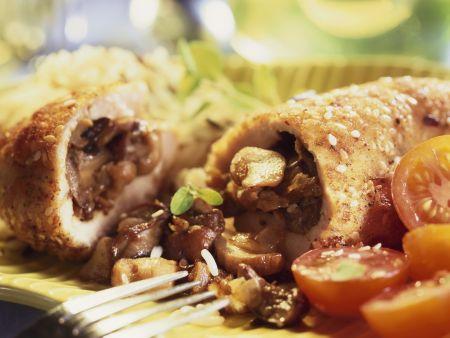 Hähnchenbrust mit Pilzen gefüllt