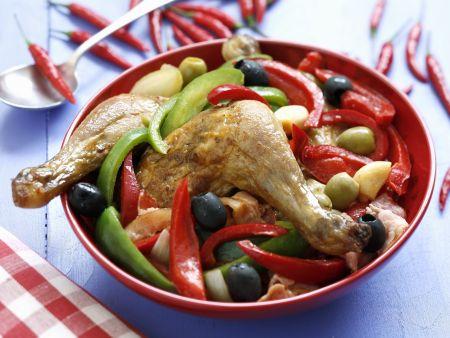 Hähnchenschlegel mit Paprika und Oliven