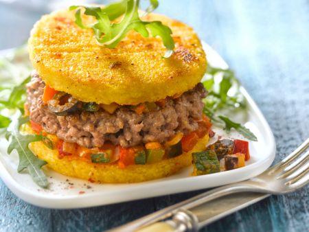 Hamburger mit Polenta-Patties