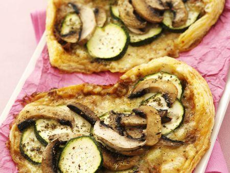 Herzküchlein mit Zucchini und Champignons