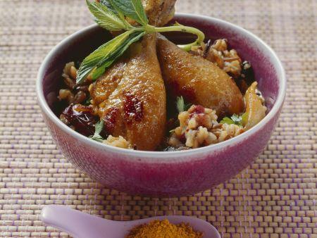 Hühnerschlegel mit Datteln, Mango und Curry