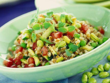 Hülsenfrüchtesalat mit Dinkel und Gemüse