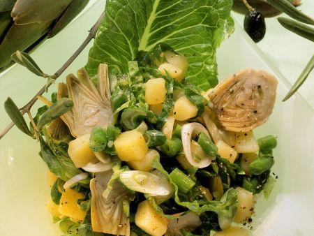 Kartoffel-Bohnensalat mit Artischocken