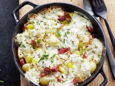 Kartoffel-Sauerkrautauflauf