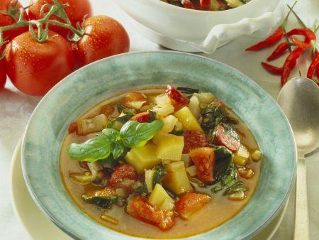 Kartoffel-Tomaten-Topf mit Mangold und Wurst