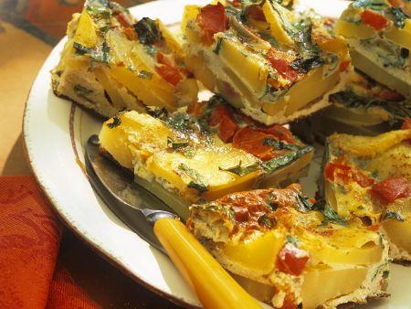 Kartoffel-Tortilla mit Spinat und Paprika