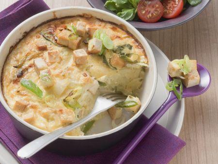 Kartoffelgratin mit geräuchertem Tofu