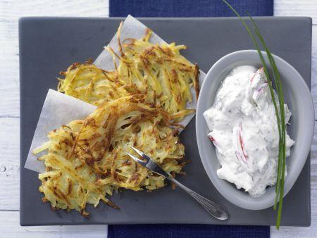 Kartoffelrösti mit Kräuterquark