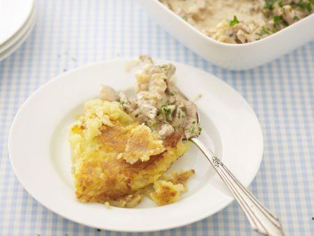 Kartoffelrösti mit Geschnetzeltem