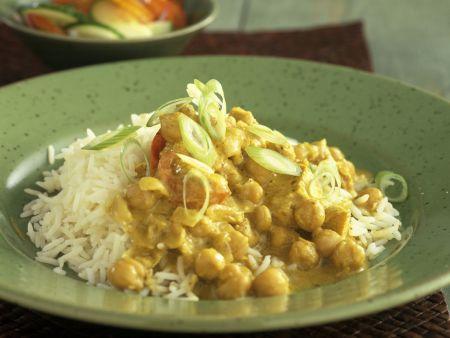 Kichererbsen-Curry mit Reis