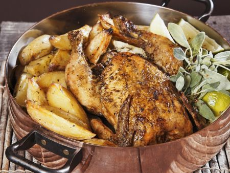 knuspriges h hnchen mit kartoffeln nach griechischer art rezept eat smarter. Black Bedroom Furniture Sets. Home Design Ideas