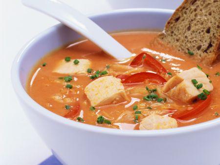 Kohlsuppe mit Fisch