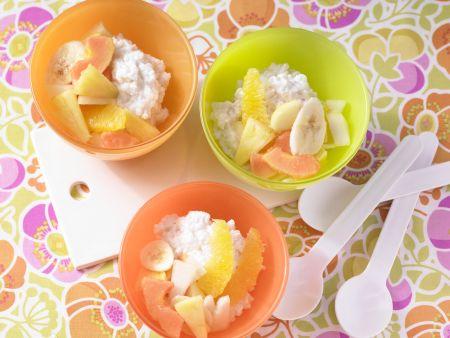 Kokos-Milchreis mit Obstsalat