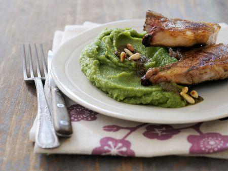 Kotelett vom Lamm mit grünem Püree