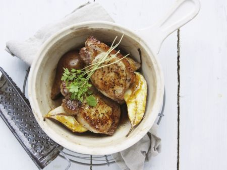 Koteletts vom Schwein mit Birne