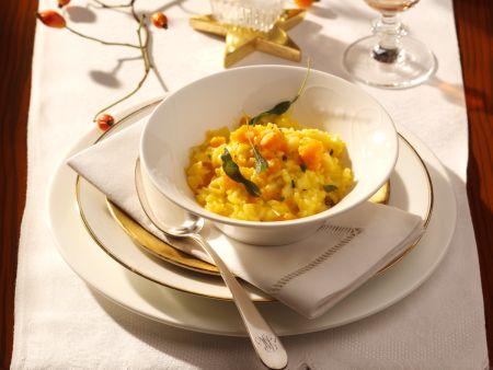 Kürbis-Risotto mit frittiertem Salbei