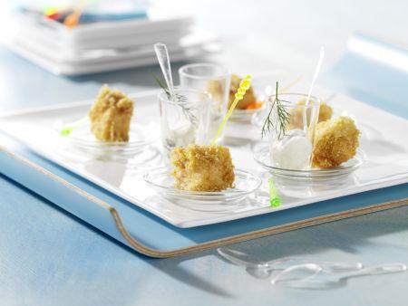 Lachs-Kartoffel-Würfel mit Meerrettich-Creme