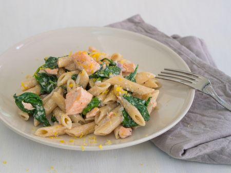 Lachs-Spinat-Pasta