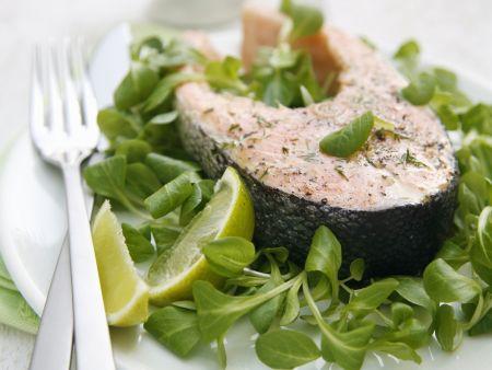 Lachssteak mit Kressesalat