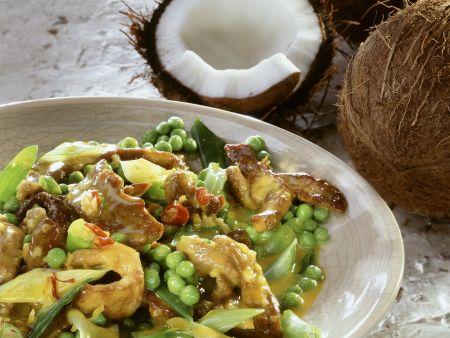 Lammfleisch mit Gemüse in Kokossoße