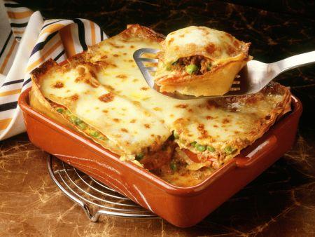 Lasagne mit Hackfleisch und Erbsen