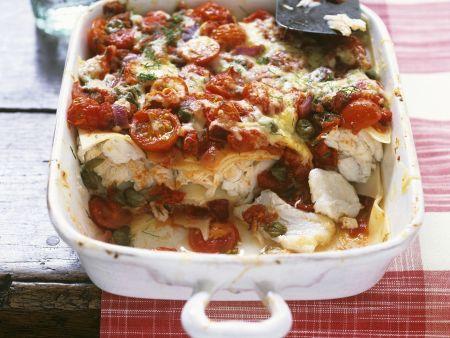 Lasagne mit Kabeljau, Kapern und Kirschtomaten