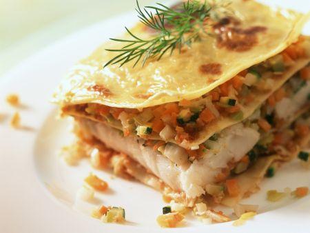Lasagne mit Seeteufel und Gemüse
