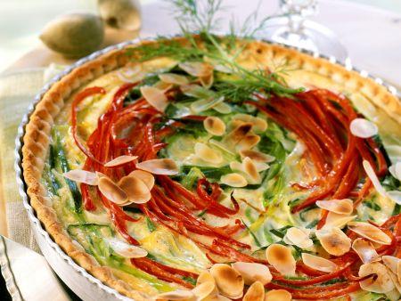 Lauch-Paprika-Quiche mit Mandeln