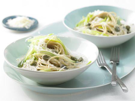 Lauch-Spaghetti mit Thunfischsauce