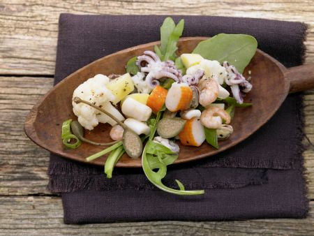 Lauwarmer Meeresfrüchtesalat