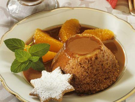 Lebkuchen-Pudding mit Schokosoße