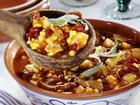 Mais-Bohnenpfanne mit Kalbsfleisch