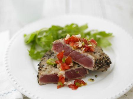 Mariniertes Thunfischsteak