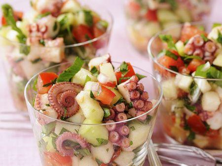 Oktopussalat mit Gemüse