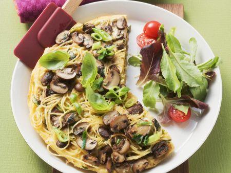 Rezept: Nudel-Pilz-Omelett