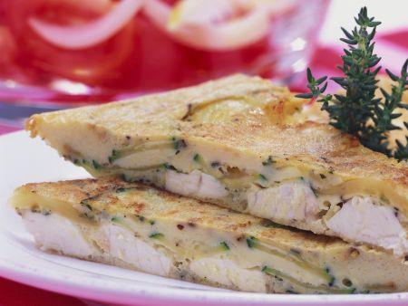 Omelett nach spanischer Art mit Schwertfisch