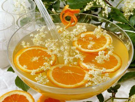 Orangen-Holunderbowle