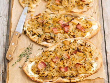 Pancetta-Flammkuchen mit Sauerkraut