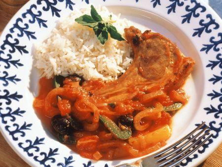 Paprika-Lamm mit Reis