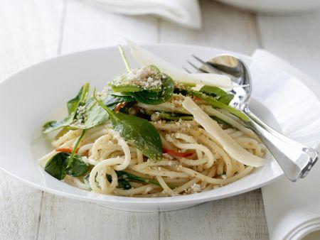 Pasta mit frischem Spinat