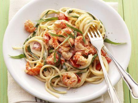 Pasta mit Garnelen und Bärlauchsoße