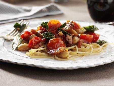 Pasta mit Gemüse und Pancetta