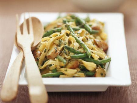 Pasta mit Kipflerkartoffeln und Bohnen
