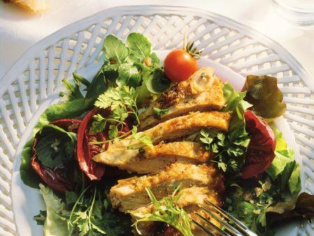 Perlhuhnbrust mit Salat