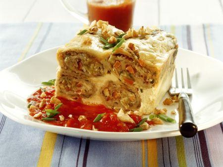 Pfannkuchengratin mit Tomatensoße